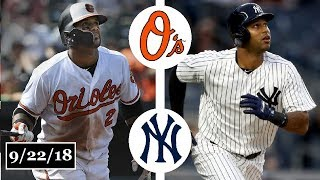 Baltimore Orioles vs New York Yankees Highlights || September 22, 2018