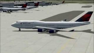 Delta flight 276 departs Tokyo to Detroit (FS2004)