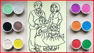 Đồ chơi trẻ em, TÔ MÀU TRANH CÁT GIA ĐÌNH CÓ BỐ MẸ & CON - Colored sand painting toys (Chim Xinh)