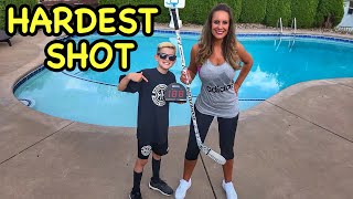 Hockey Mom Vs CBanks Hardest Shot Comp Loser Thrown in Pool