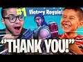 HELPING LITTLE 9 YEAR OLD KID WIN HIS FIRST FORTNITE GAME!!! *EMOTIONAL* FORTNITE BATTLE ROYALE!