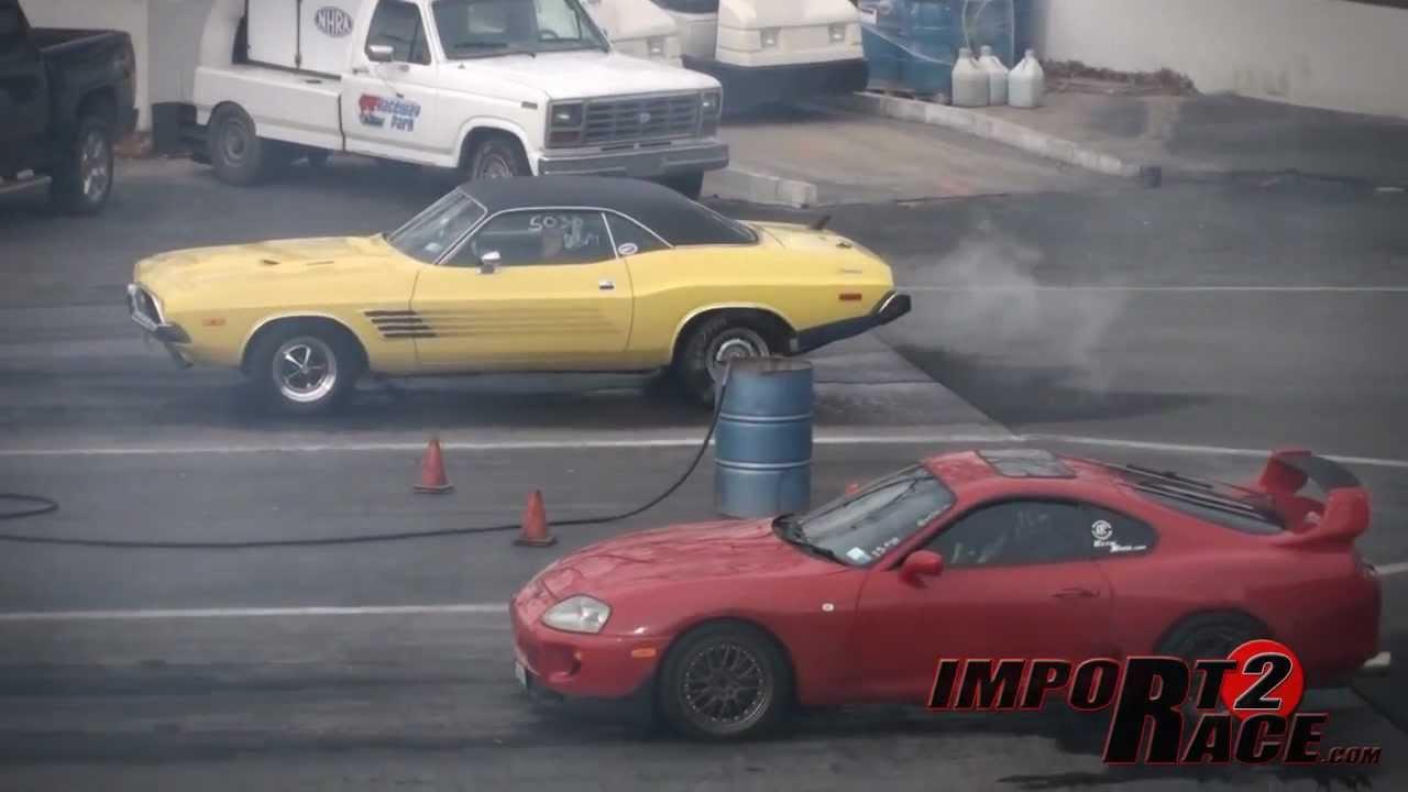 Supra vs American muscle A fast & furious like Drag race - YouTube