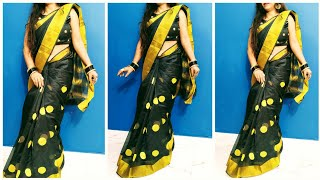 How to Wear Cotton Silk saree/  how to wear black saree/ Amazon black cotton silk saree