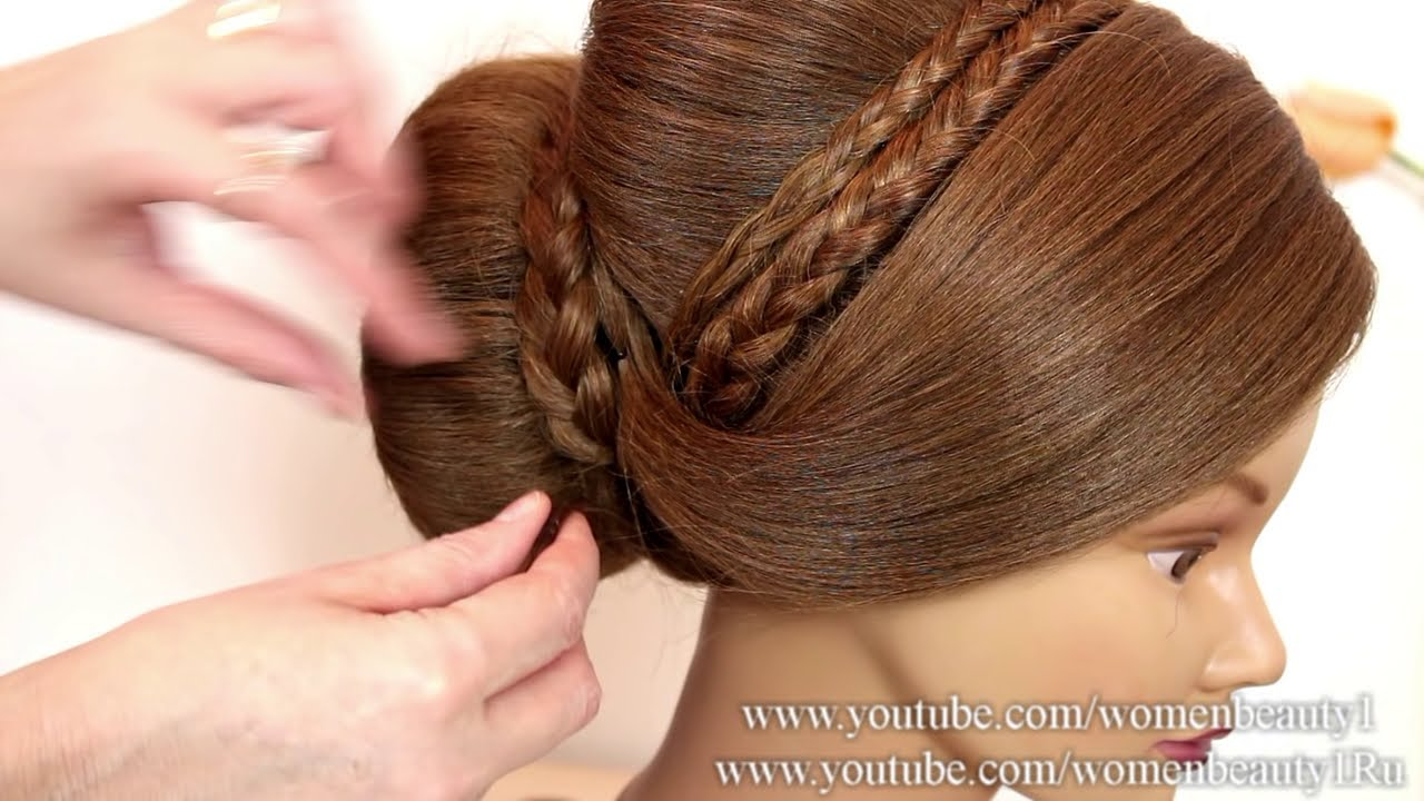Wonderful Bun Updo. Hairstyle For Long Hair. Tutorial   YouTube