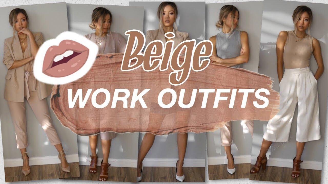 [VIDEO] – OFFICE WORK OUTFIT ideas    Beige Nude LOOKBOOK   Capsule Wardrobe