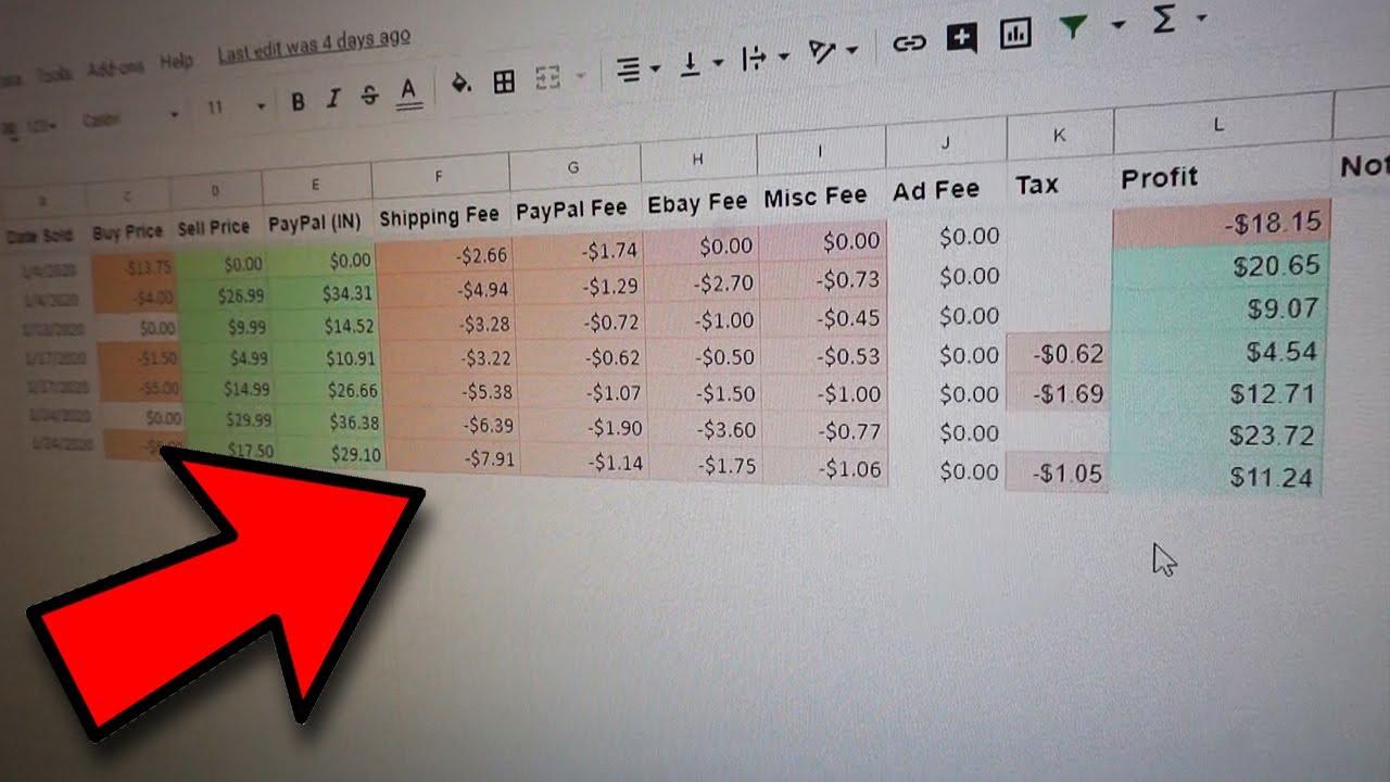 Ebay Spreadsheet For Sellers 2020 Free Ebay Profit And Loss Spreadsheet Youtube