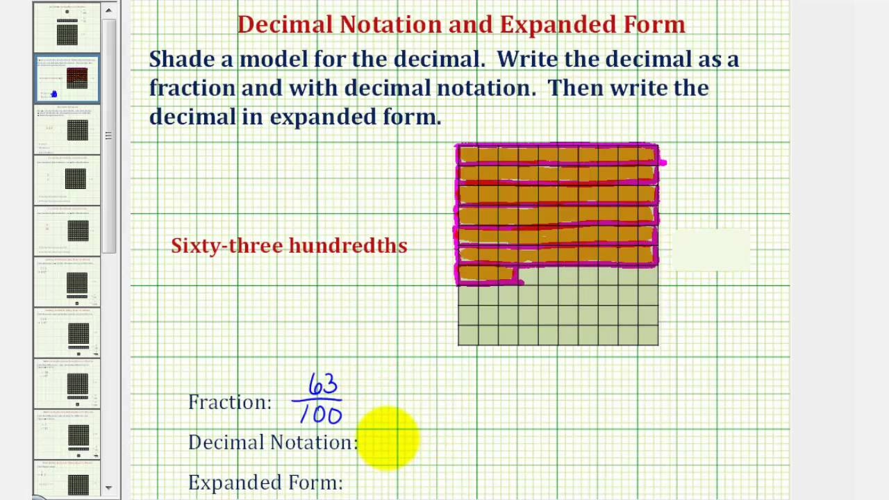 Ex decimal grid fraction and expanded form for a given decimal ex decimal grid fraction and expanded form for a given decimal words youtube falaconquin