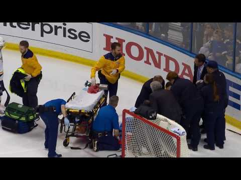 Fiala stretchered off after Bortuzzo takes him hard into boards