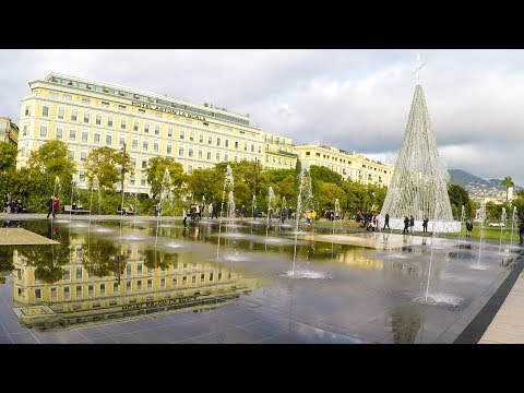 Nice, France. Place Massena and Promenade du Paillon with Huge Water Jets