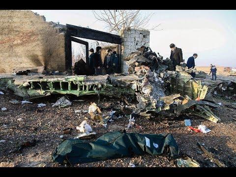 Падение украинского самолета в Иране. Видео с места крушения