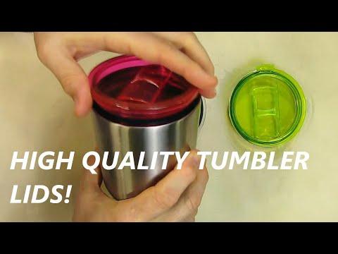 LJY Tumbler Lid Yeti Rambler RTIC Tumblers, 30 oz, 3-Pack (Red + Green + Transparent)