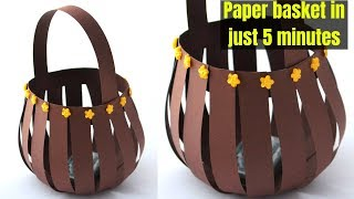 Super Easy paper basket using paper strips   Quick Paper Basket making   Craftsbyanu