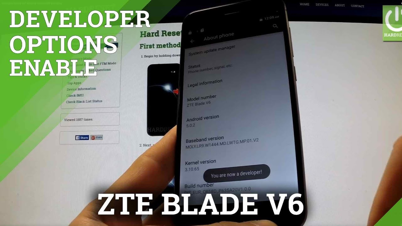 Developer Options ZTE Blade V6 - enable USB debugging