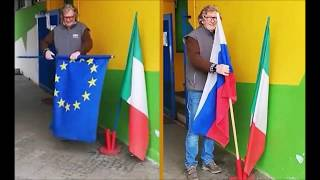 Друг познаётся в беде Итальянец заменил флаг Евросоюза на российский в знак благодарности России за