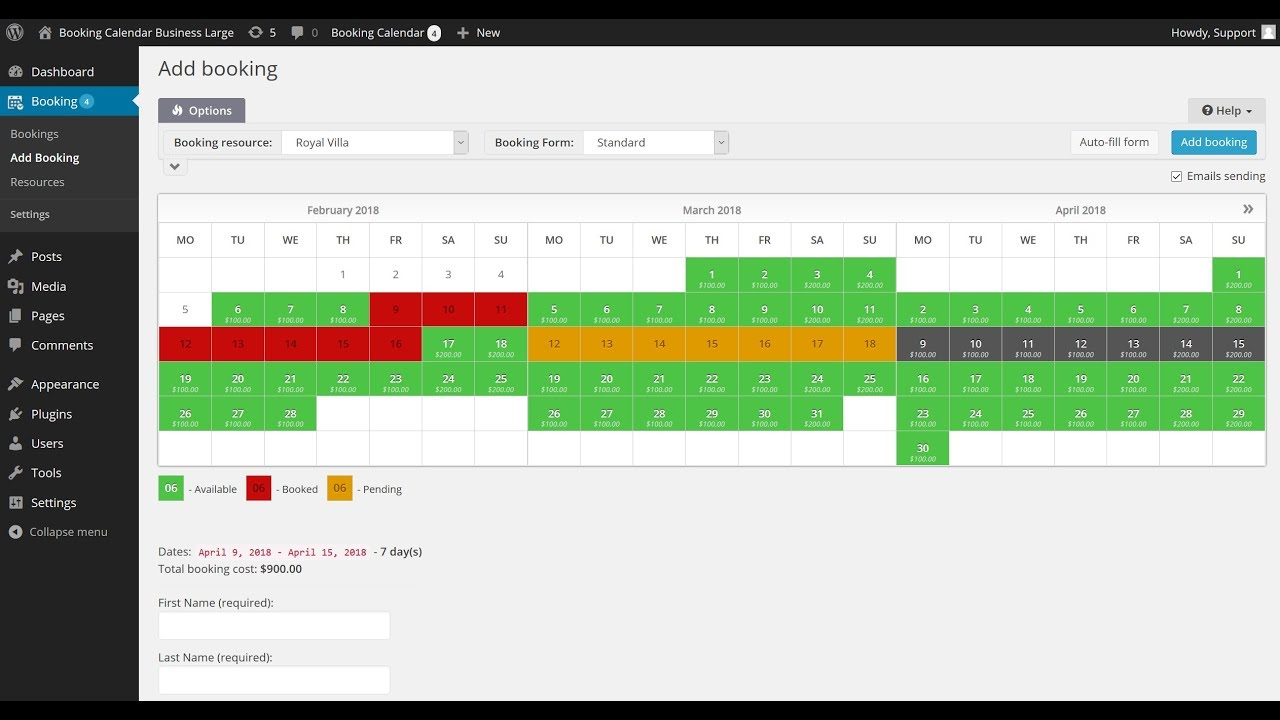 Booking Calendar - Booking admin panel - Add New booking page