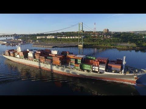 DJI Phantom 3 Video - Container Ship BILBAO BRIDGE Inbound into Halifax, NS (June 16, 2017)