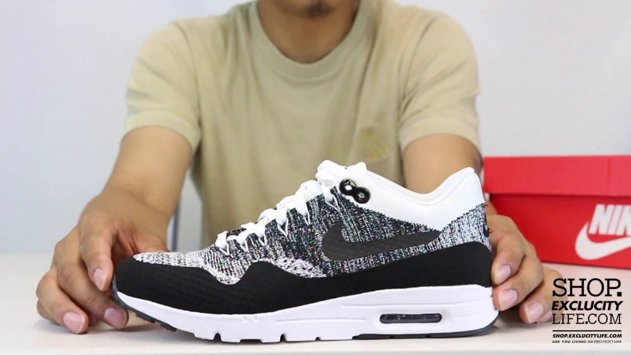 competitive price 946bc ba653 Women's Air Max 1 Ultra Flyknit Black - White Unboxing Video at Exclucity