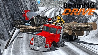 Авария на Скользкой Трассе в Сильный Туман - BeamNG drive