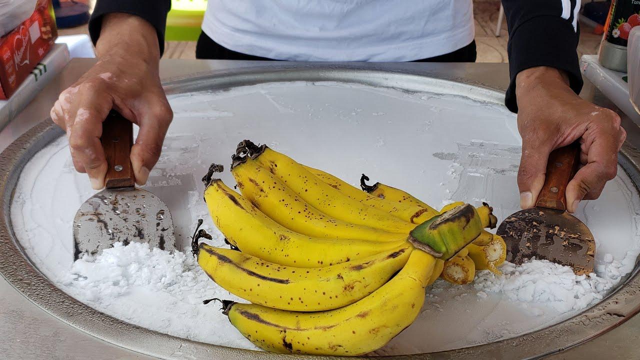 Banana Strawberry Ice Cream Rolls Satisfying Street Food Sounds