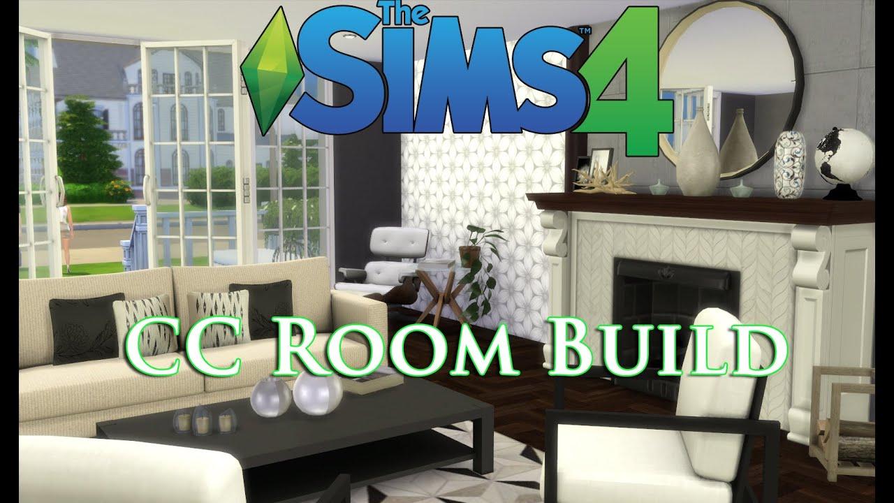 The Sims 4 - CC House Build (Episode 1) Livingroom! - YouTube