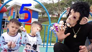 Funny baby play with Monkey under a funny song Fiv