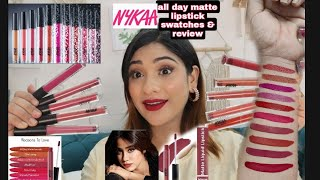 Nykaa New all day matte lipstick swatches All Ten shades    price 349 Rs.    *Non sponsored*