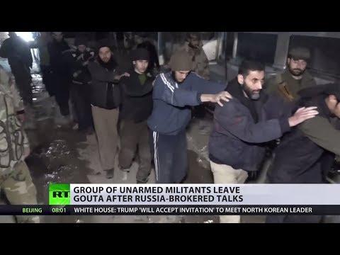 Unarmed militants leave Eastern Ghouta through humanitarian corridors