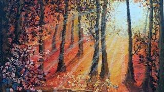 Sunrise - Oil Pastel Tutorial   How to paint a landscape with oil pastel   Long Version