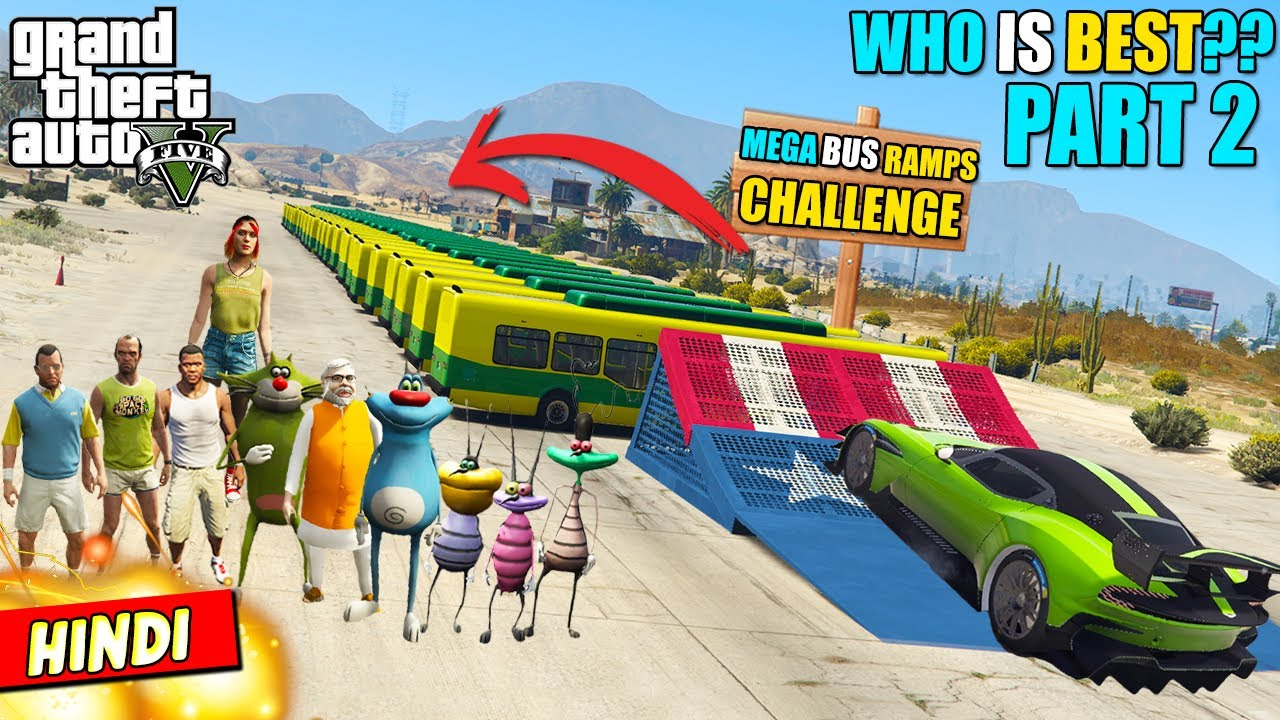 """MEGA BUS RAMP CHALLENGE"" Cockroaches VS TEAM OGGY Vs TEAM MICHAEL (Who is Best? #2) GTA 5 Oggy #23"