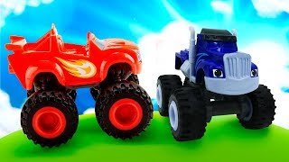 Monster Trucks Blaze and Crusher: Toy Cars in Sand - Blaze and the Monster Machines Toys