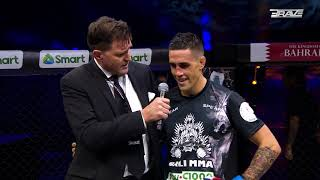 BRAVE CF 22 POST FIGHT CAGE INTERVIEW JOHN BREWIN