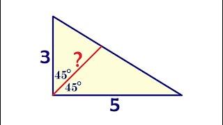 Найдите биссектрису прямоугольного треугольника с катетами 3 и 5 ★ Как решать?