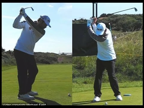Louis Oosthuizen golf swing - Long Iron (face-on & down-the-line), July 2017.