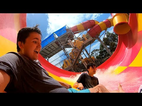 *GOT CAUGHT BY STAFF* Adventure Park Vlog! (Waterslides & Pools)