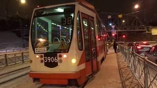 Трамвай Санкт-Петербурга 6-58: ЛМ-99АВН б.3906 по №38 (21.01.16)