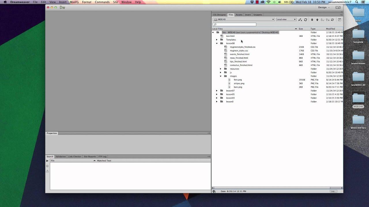 Dreamweaver File Management - Lesson Template Fix - YouTube