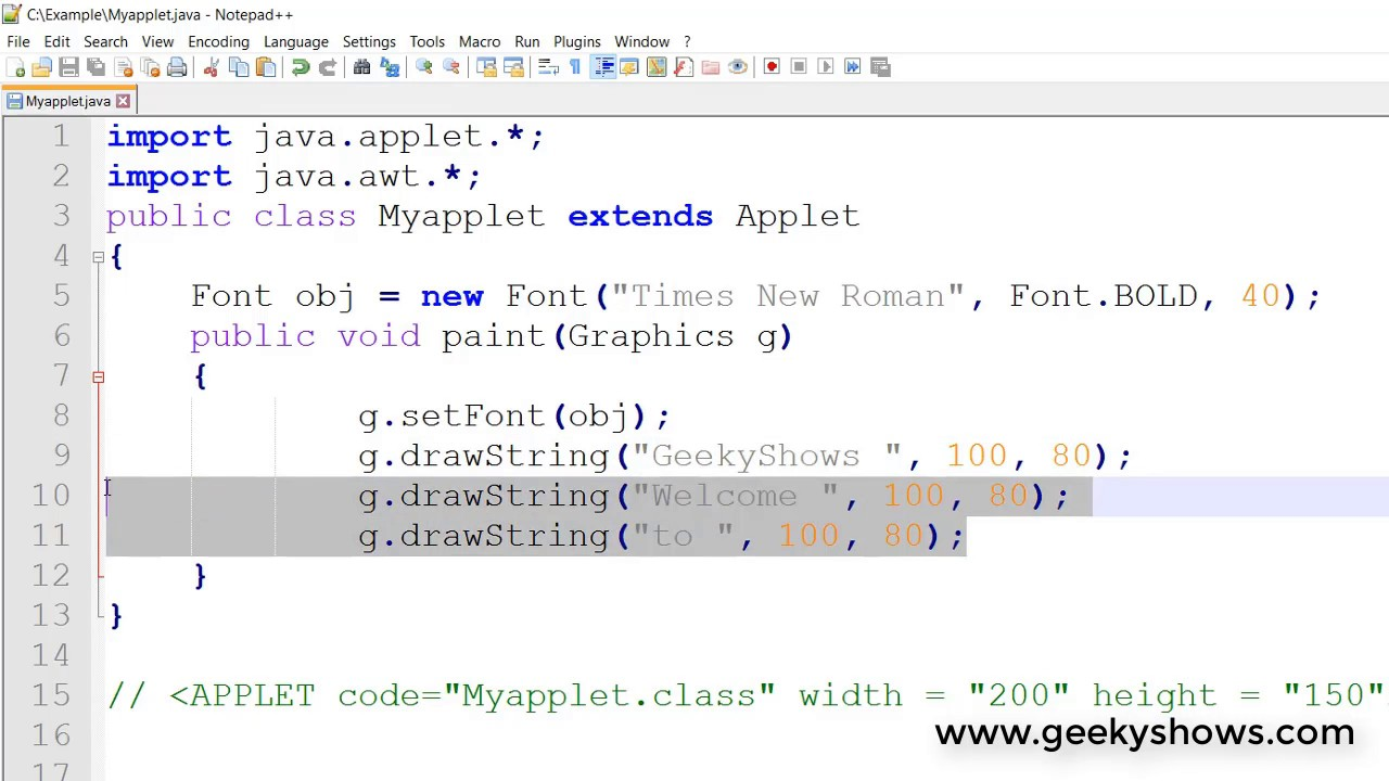 Font Constructor and setFont in Java Applet (Hindi) - YouTube