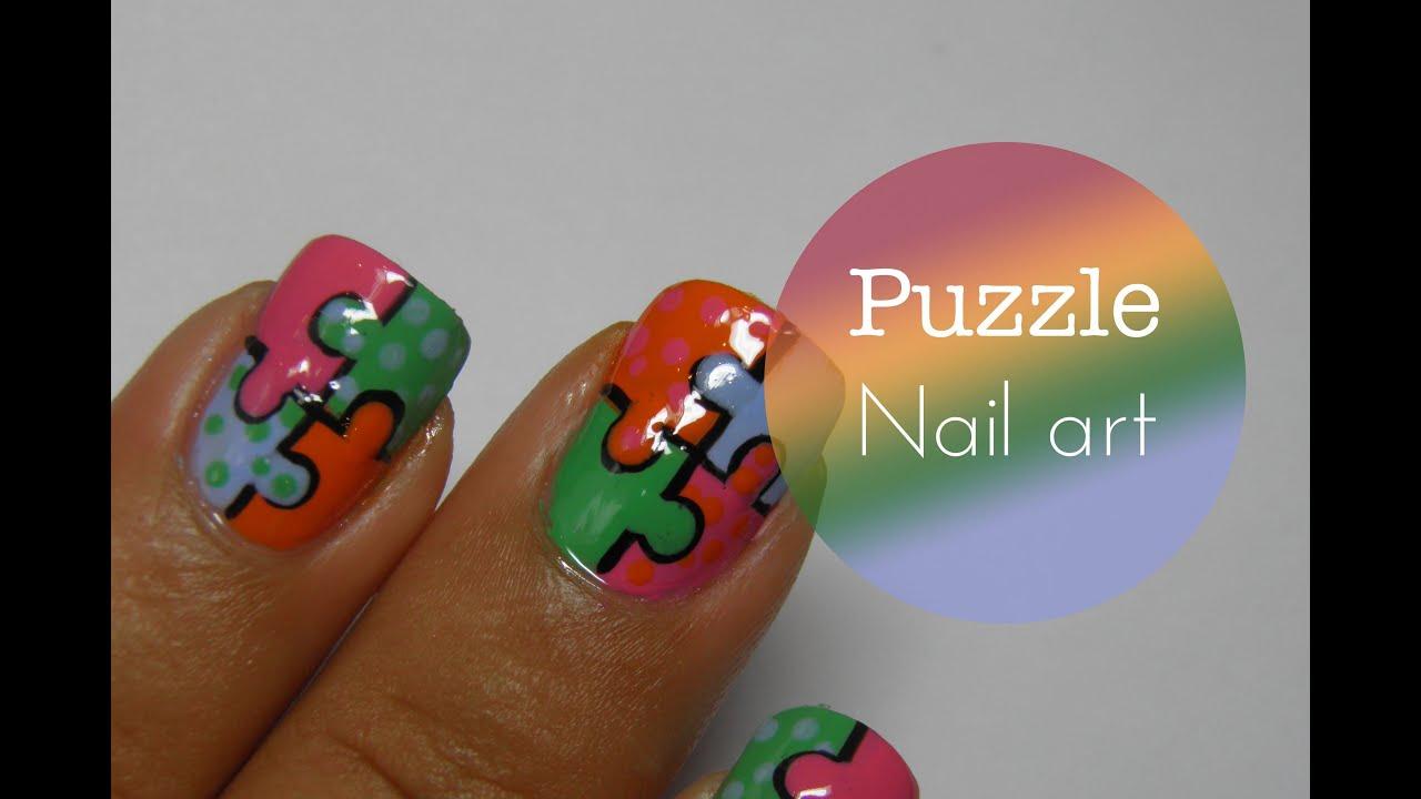 Puzzle nail art tutorial - YouTube