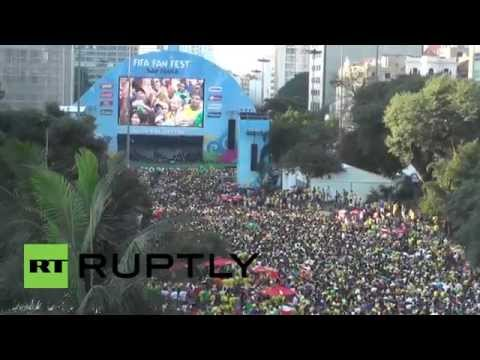 Brazil: Fans go crazy in downtown Sao Paulo after Neymar steals the show