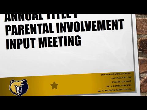 Sylvan Hills Middle School Title I Input Meeting