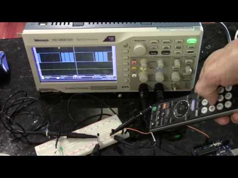 Infrared receivers (sensors)--analysis of TV remote control signals via  Oscilloscope