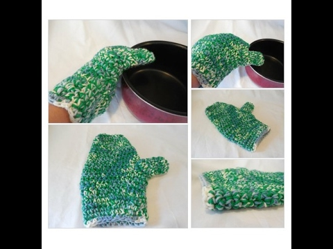 Oven Mitt Oven Glove Crochet Green And Blue Varigated Youtube