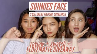 SUNNIES FACE FLUFFMATTE | FILIPINA SKINTONES | REVIEW + SWATCH + GIVEAWAY | Kayla Cabasal