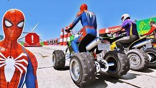 SUPER CARROS com Homem Aranha e Heróis! Corrida com Saltos na Rampa - GTA V Mods - IR GAMES