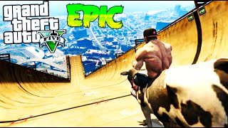 TOBOGAN CON VACAS !!! GTA 5 MOD PC !! SUPER RAMPA EPICA FUNNY MOMENTS BIG RAMP GTA V MOD Makiman
