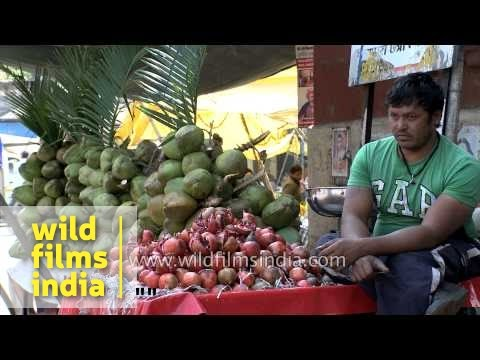 Coconut water for sale at a fruit market in Indore