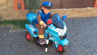 Dima like a paw patrol policeman Pretend Play with Mom Ride on Power Wheel Tractor