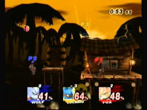 SSBB WiFi battles Wolf VS Lucario VS Fox
