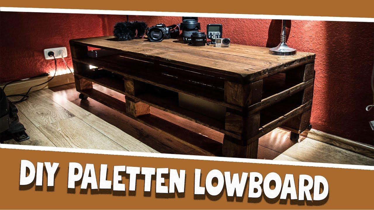sideboard aus paletten diy paletten lowboard youtube sideboard hifi rack aus paletten. Black Bedroom Furniture Sets. Home Design Ideas