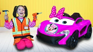 Fatima Playing with Colorful Super Car and Repair Car Wheel